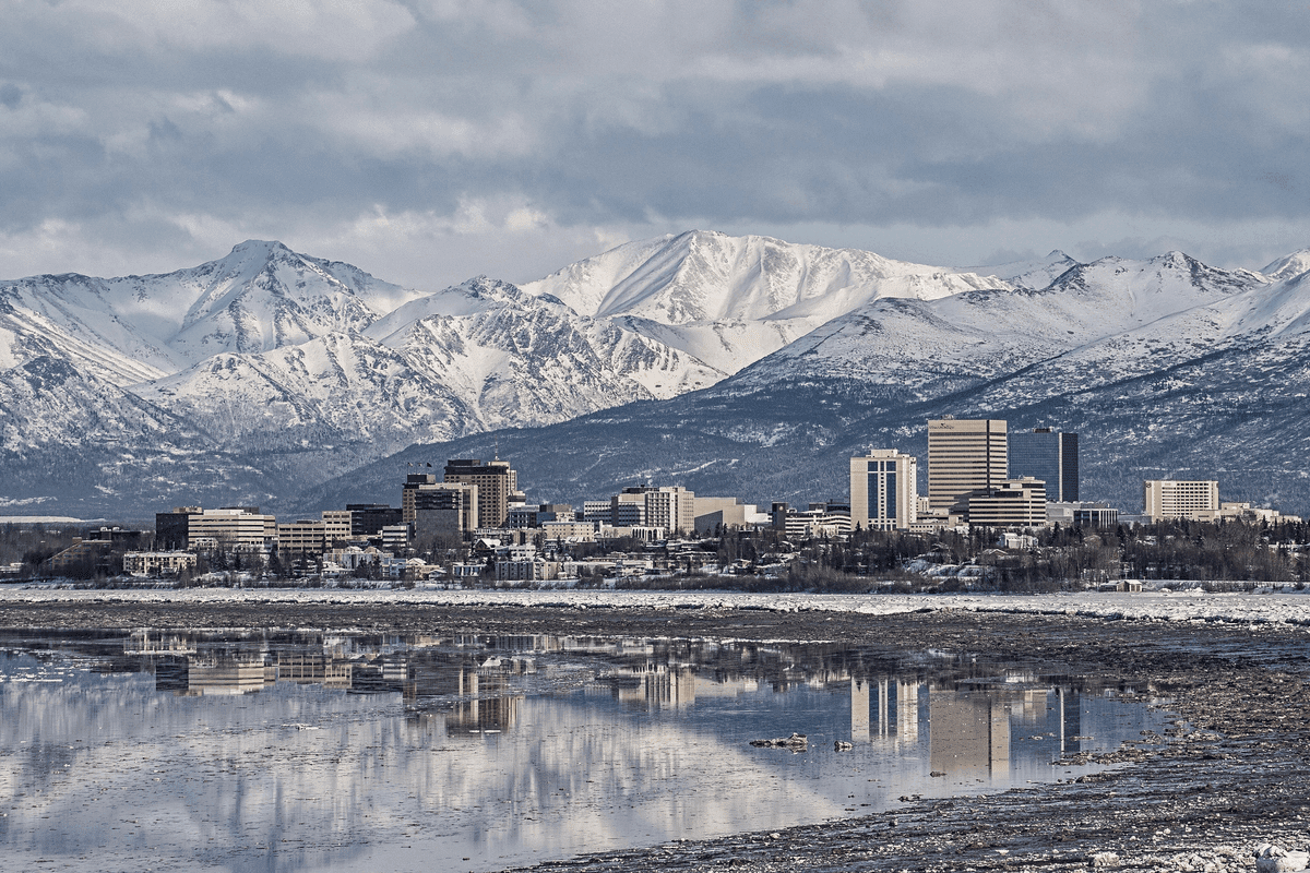 Anchorage, AK, one of the least crowded cities in us