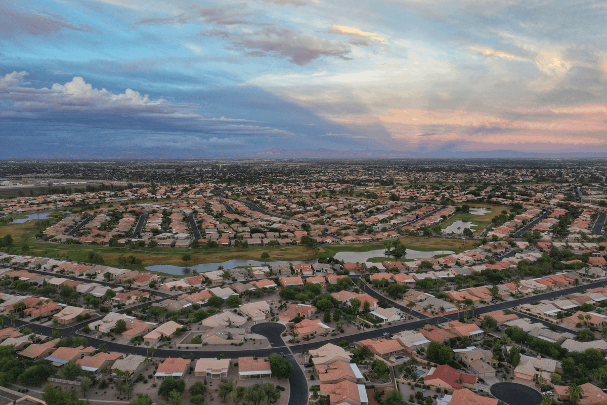 Aerial view of Chandler, AZ with blue skies.