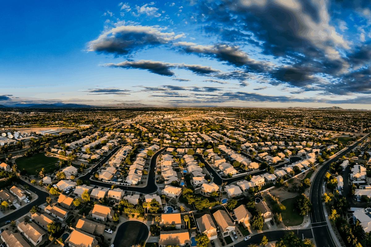 Aerial of Gilbert, AZ at dusk.
