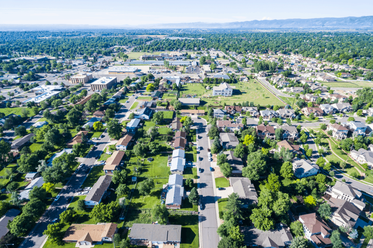 Aerial over Lakewood, CO.