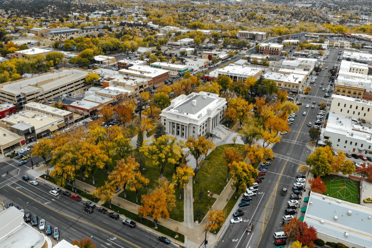 Aerial view of downtown square of Prescott, AZ.