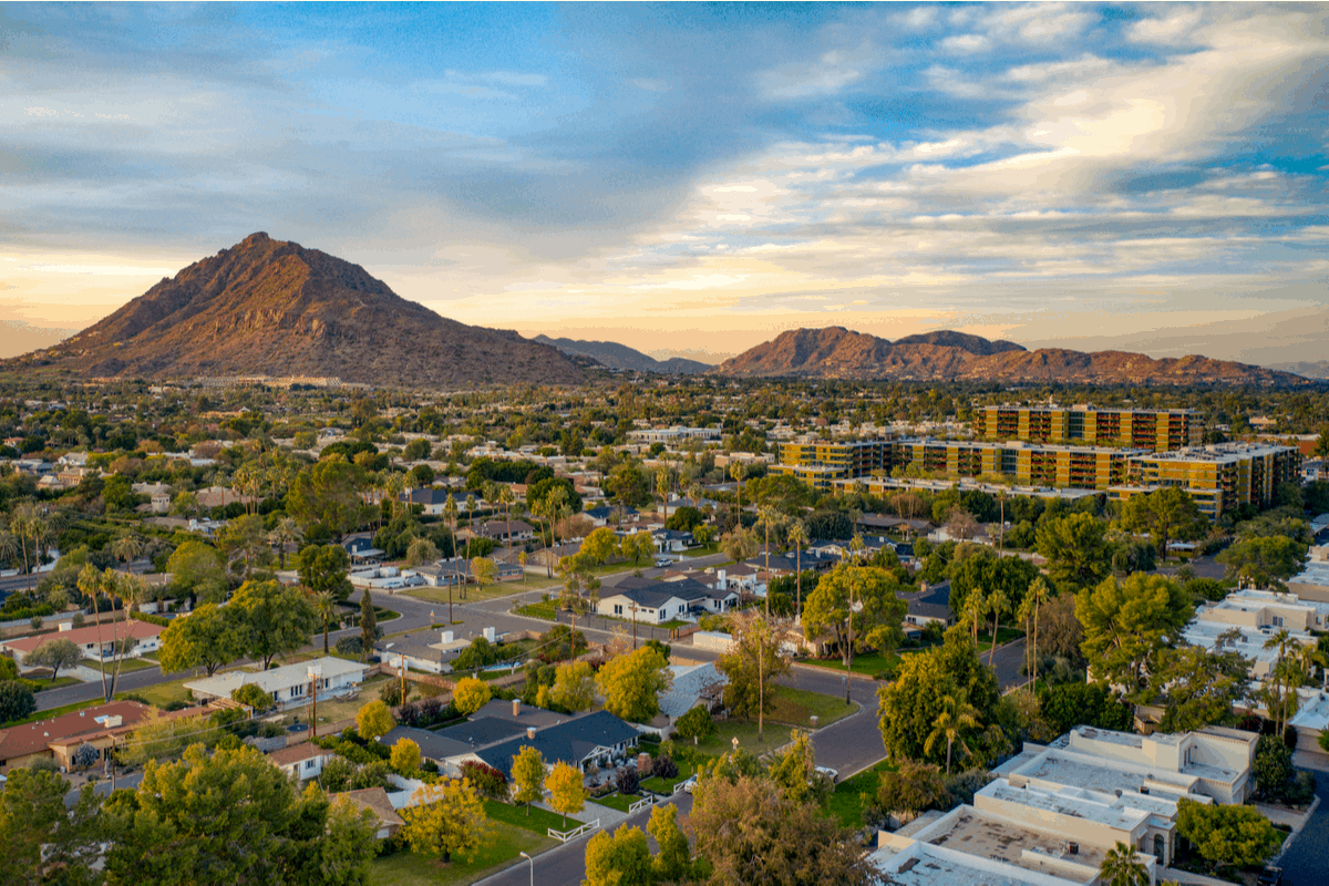 Aerial view of Scottsdale, AZ, one of the best places to live in arizona