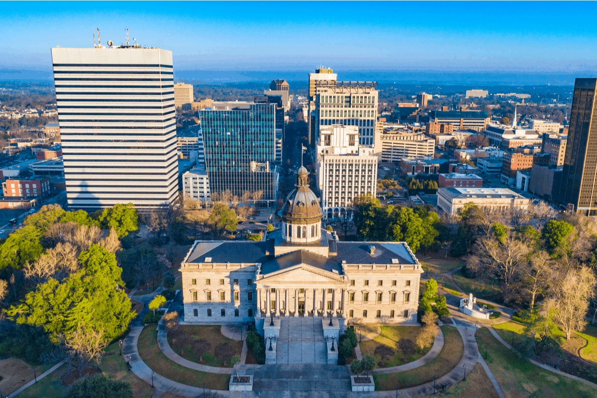 Aerial view of downtown Columbia, SC.