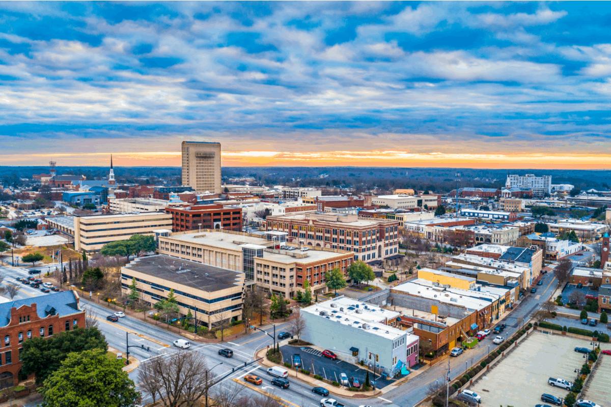 Aerial shot of Spartanburg, SC.