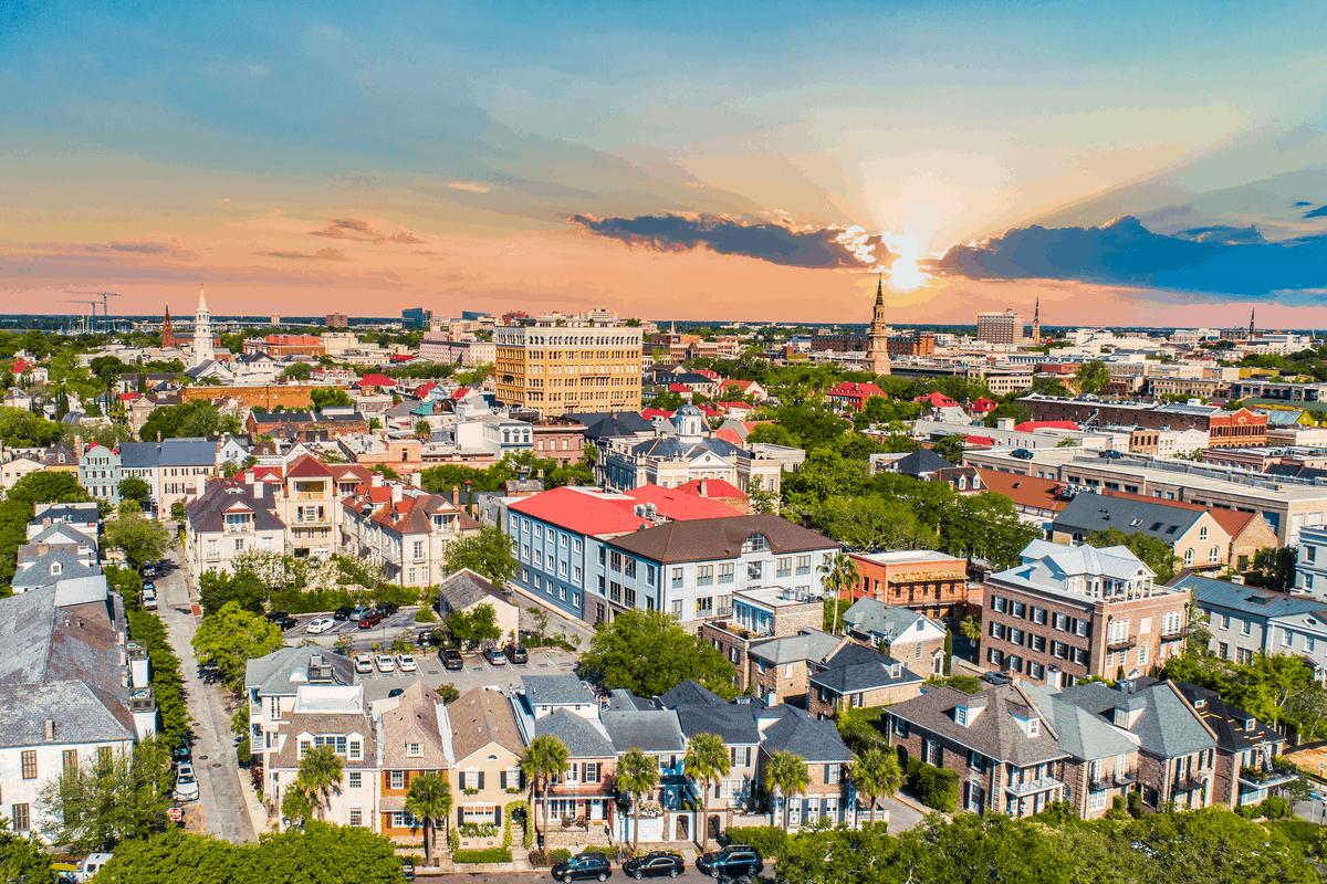 Aerial view of Charleston, SC at sunset.