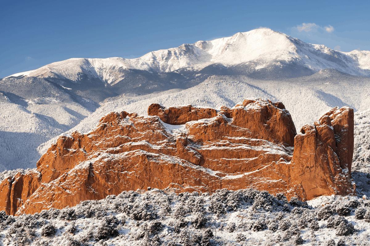 Snow in Colorado Springs, CO.