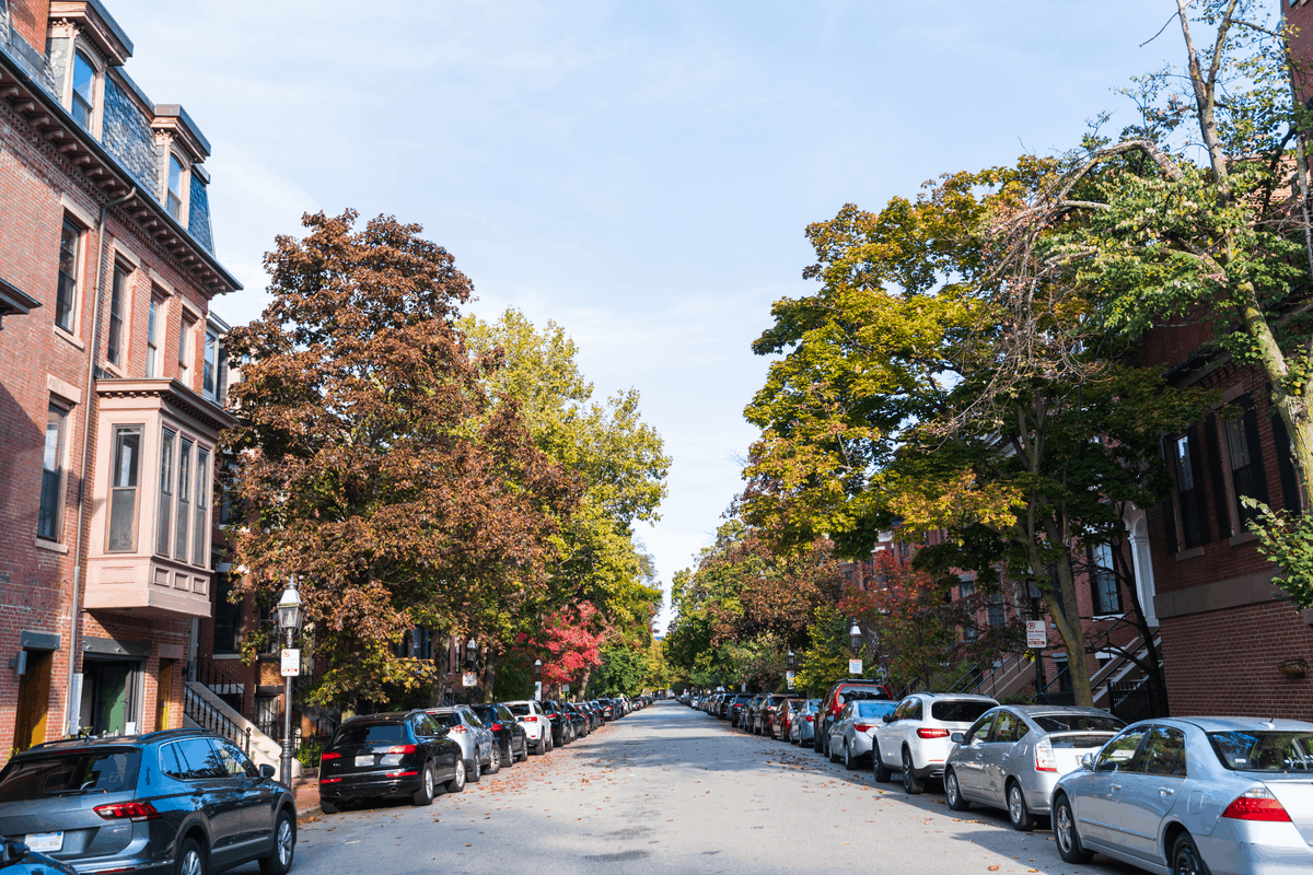 South End, Boston during spring time with cars parked on the street.
