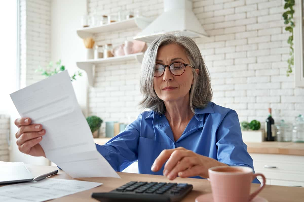 Woman working on a budget.
